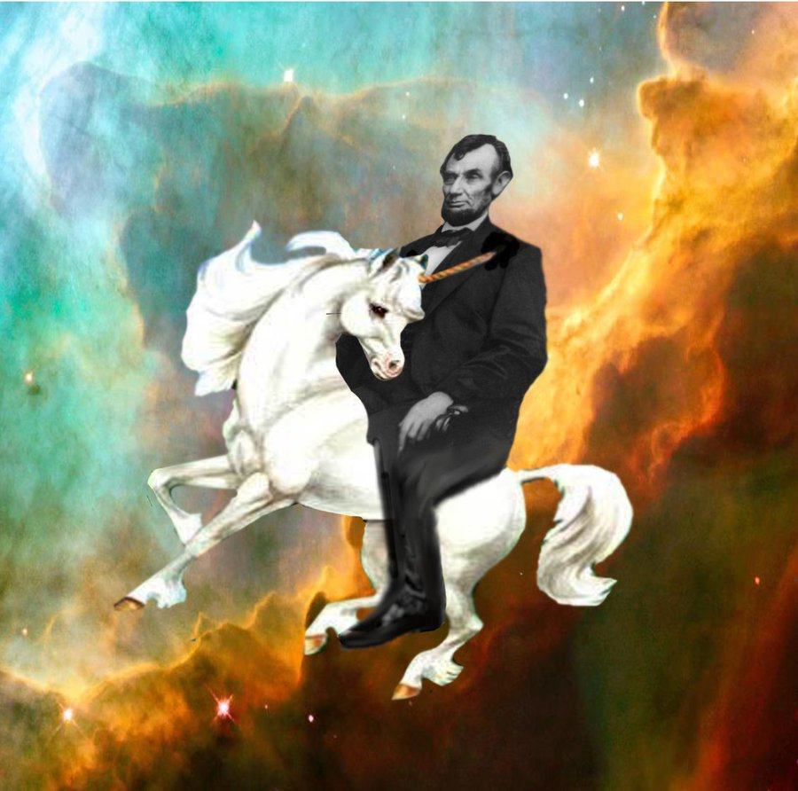 Abraham Lincoln riding a unicorn through outer space.