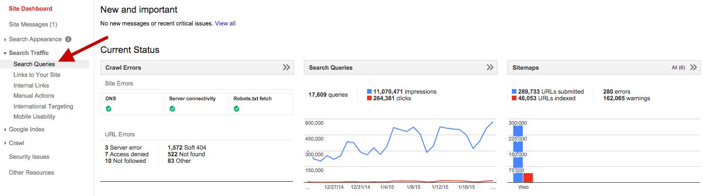 search queries Google Webmaster Tools