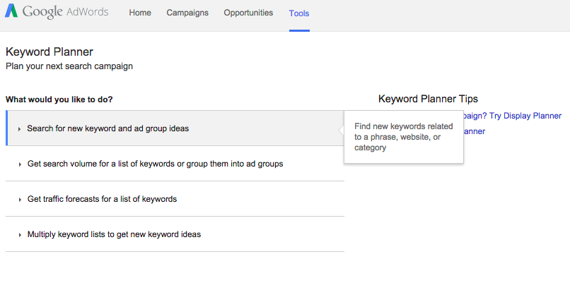 Keyword planner for keyword research