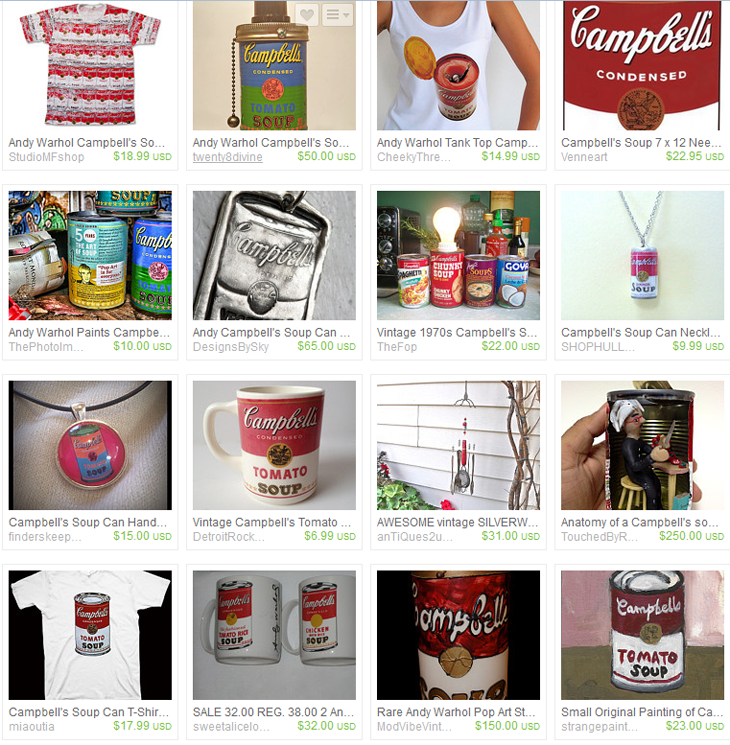 "Etsy results for a search of ""Warhol Campbell Soup"""