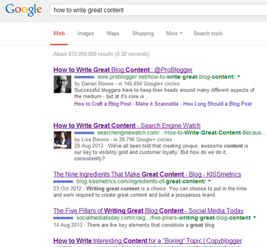 Search results for how to write great content