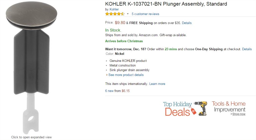 Kohler store, sink stopper, on Amazon.com