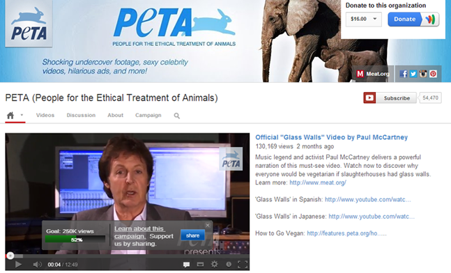 PETA YouTube Channel