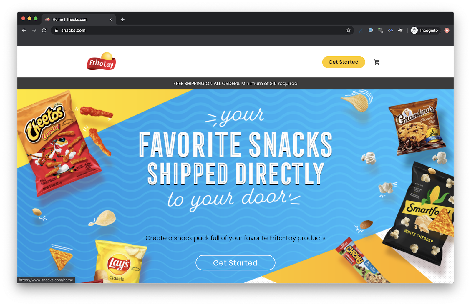 Frito Lay ships snacks home through snacks.com