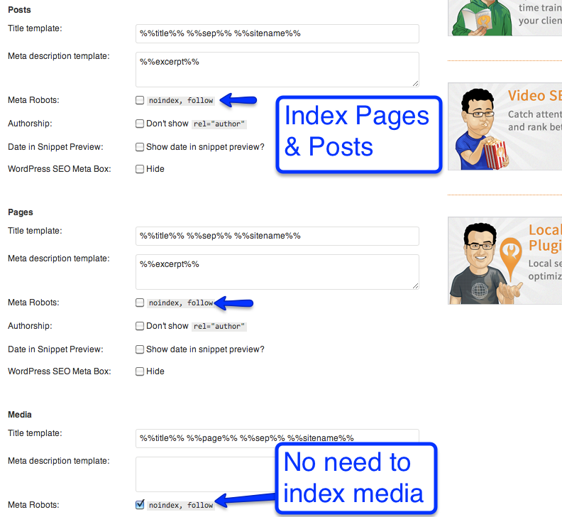 indexation setting yoast seo