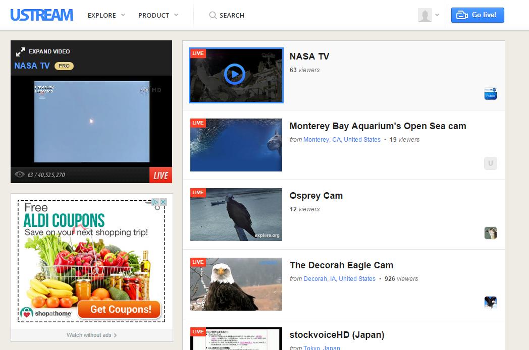advertising on ustream