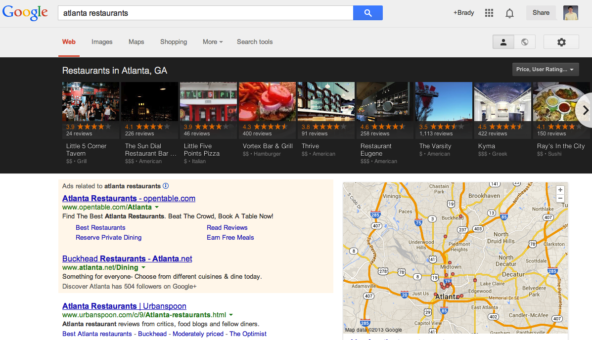 Google local carousel for Atlanta restaurants