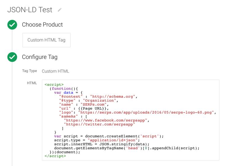 Google Tag Manager JSON-LD insertion script
