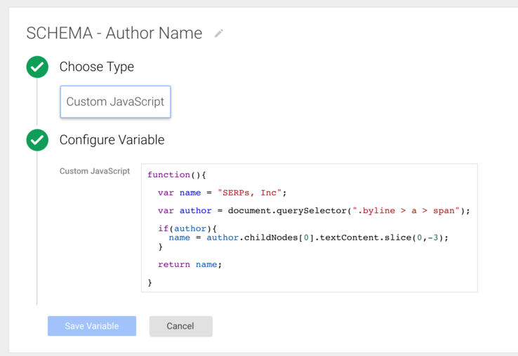 custom JavaScript google tag manager variable to extract and process copy