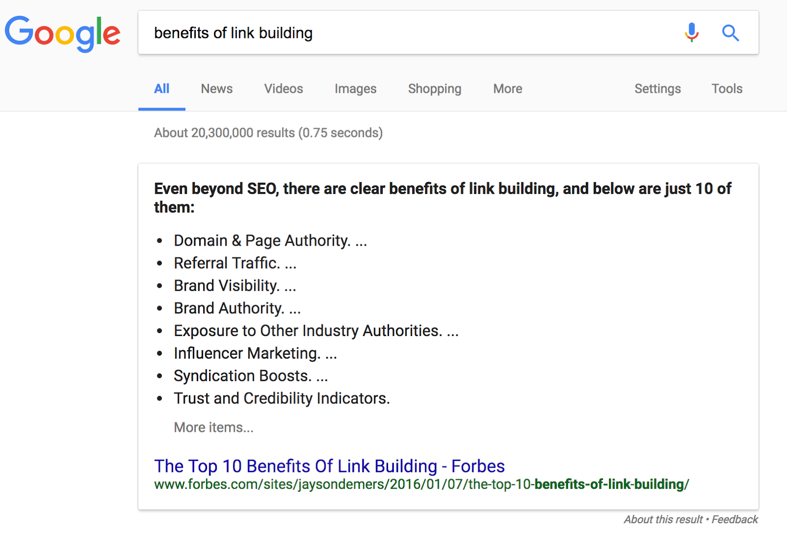 "Screenshot: SERP & snippet for ""benefits of link building"""