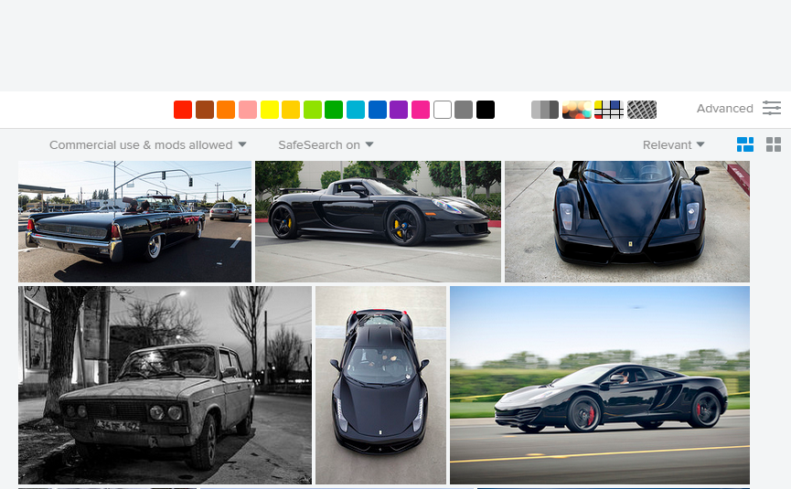 "Searching for ""black car"" on Flickr."