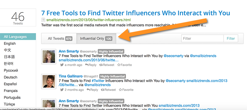 Topsy to find users who interact with my content on Twitter