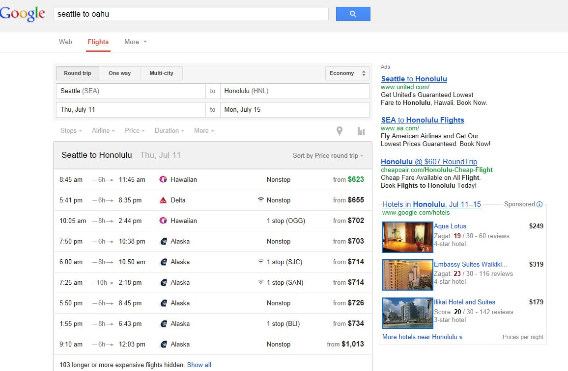 Flights from Google Flight Search