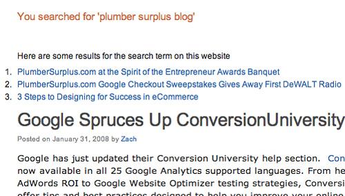 Plumber Surplus Blog Screenshot from MSN