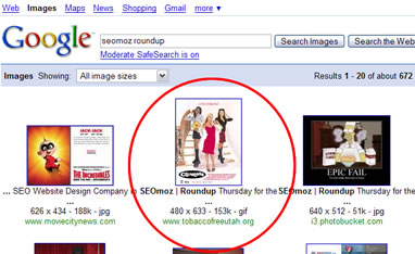 "Google image search for ""SEOmoz roundup"""