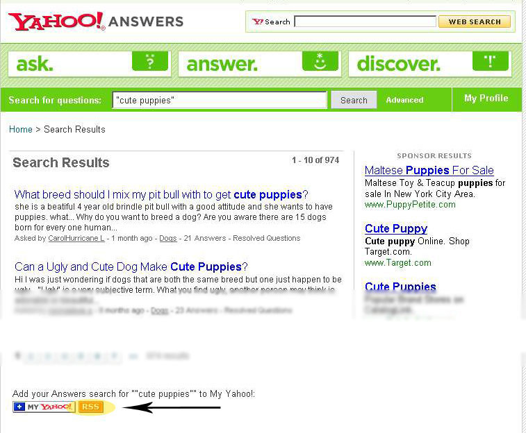 Locating the feed icon in Yahoo Answers
