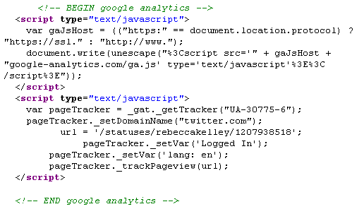 Google Analytics JavaScript working on Twitter
