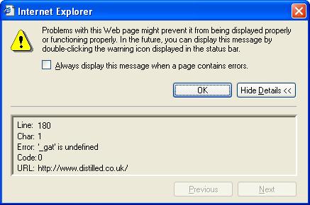 JavaScript error in Internet Explorer