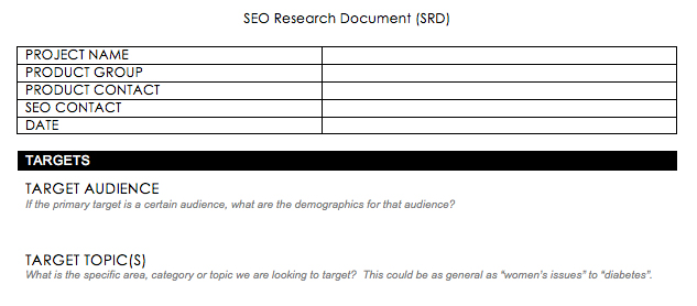 SEO Research Document - Section for target audience information