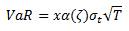 Value at Risk (VaR) equation for the RiskMetrics model