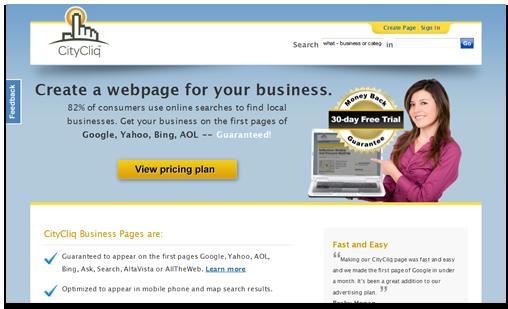 Citycliq homepage