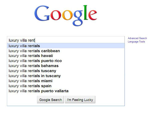 Google Suggest for Luxury Villa Rent