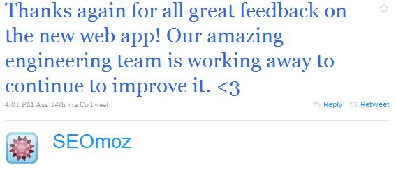 SEOmoz celebrates via Twitter.