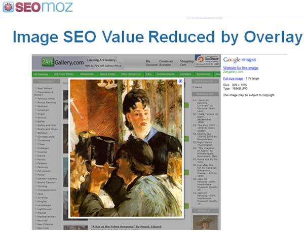 Image SEO Value Reduced by overlay