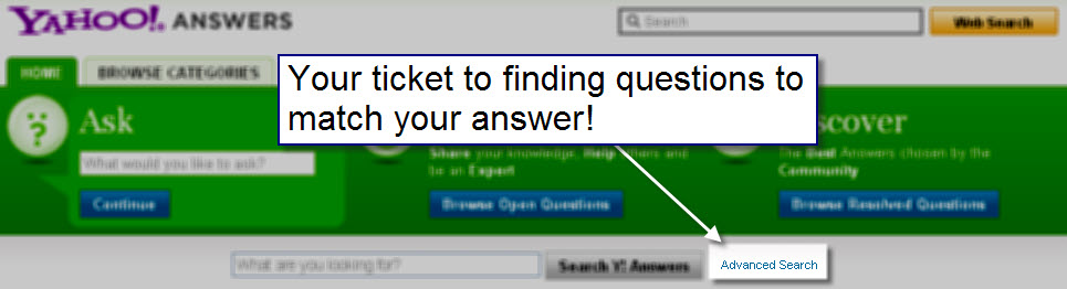 Yahoo Answers Advanced Search Function