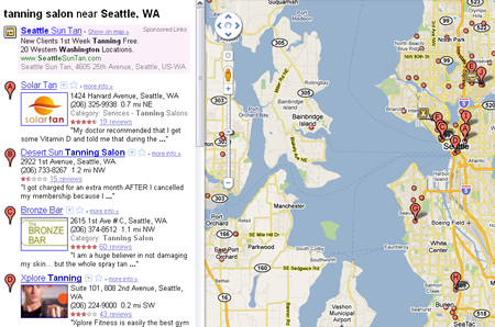 Example of Google Maps SERP