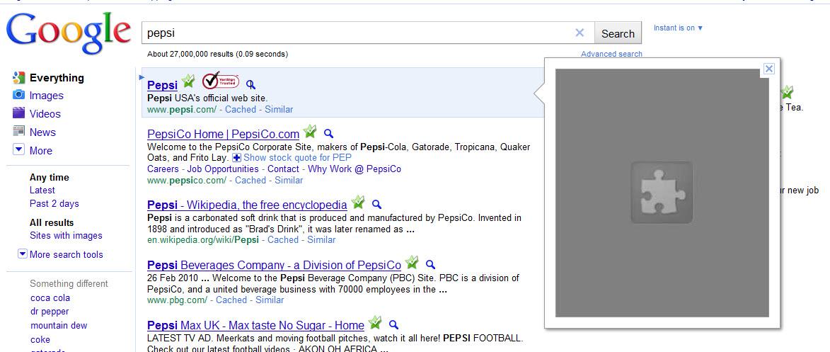 Pepsi Google Instant Preview Screenshot