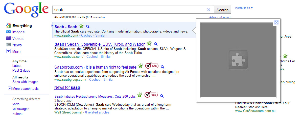 SAAB Google Instant Preview Screenshot
