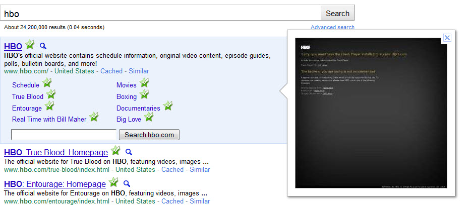 HBO Google Instant Preview Screenshot