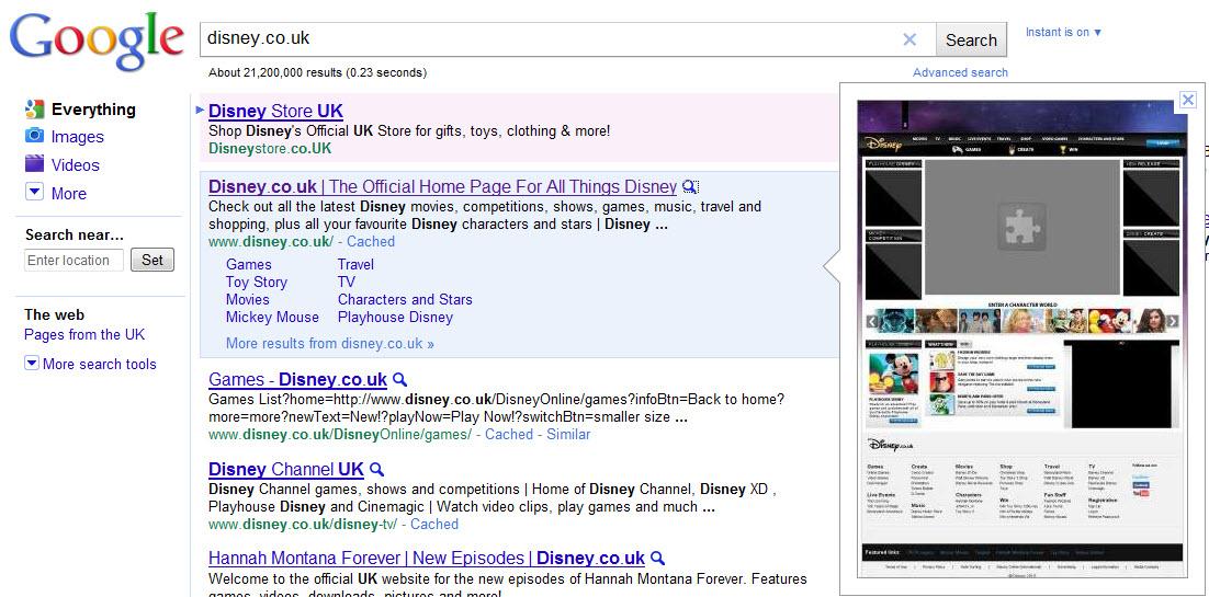 Disney Google Instant Preview Screenshot
