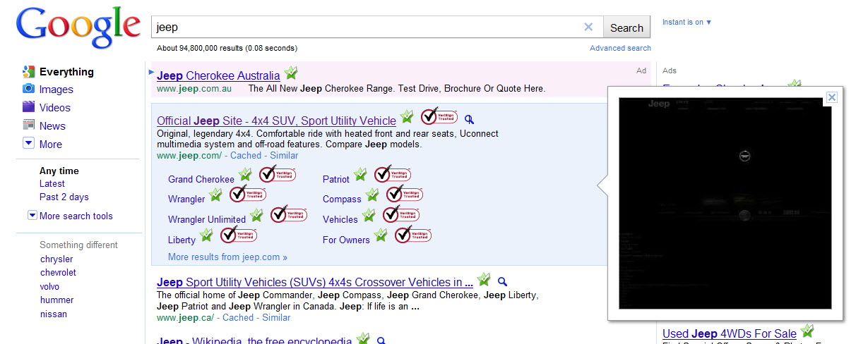 Jeep Google Instant Preview Screenshot