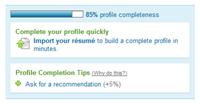 LinkedIn's progress bar
