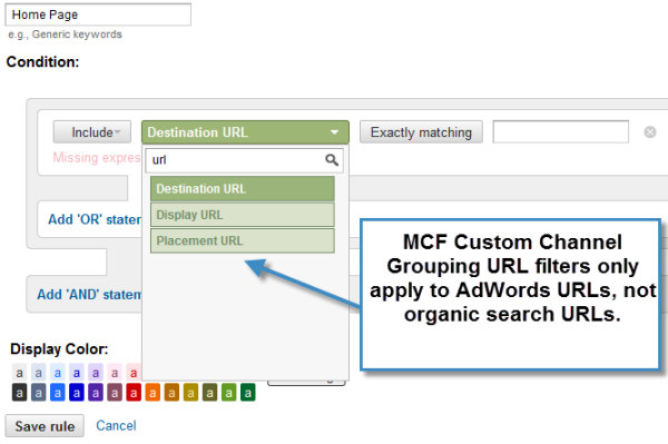 Google Analytics MCF Custom Channel Groupings