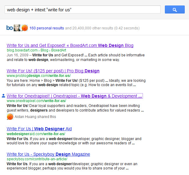 Search Operators to find Web Design Blogs