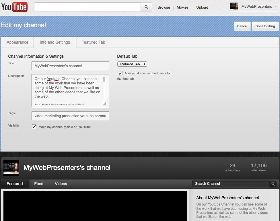 Youtube info and settings tab