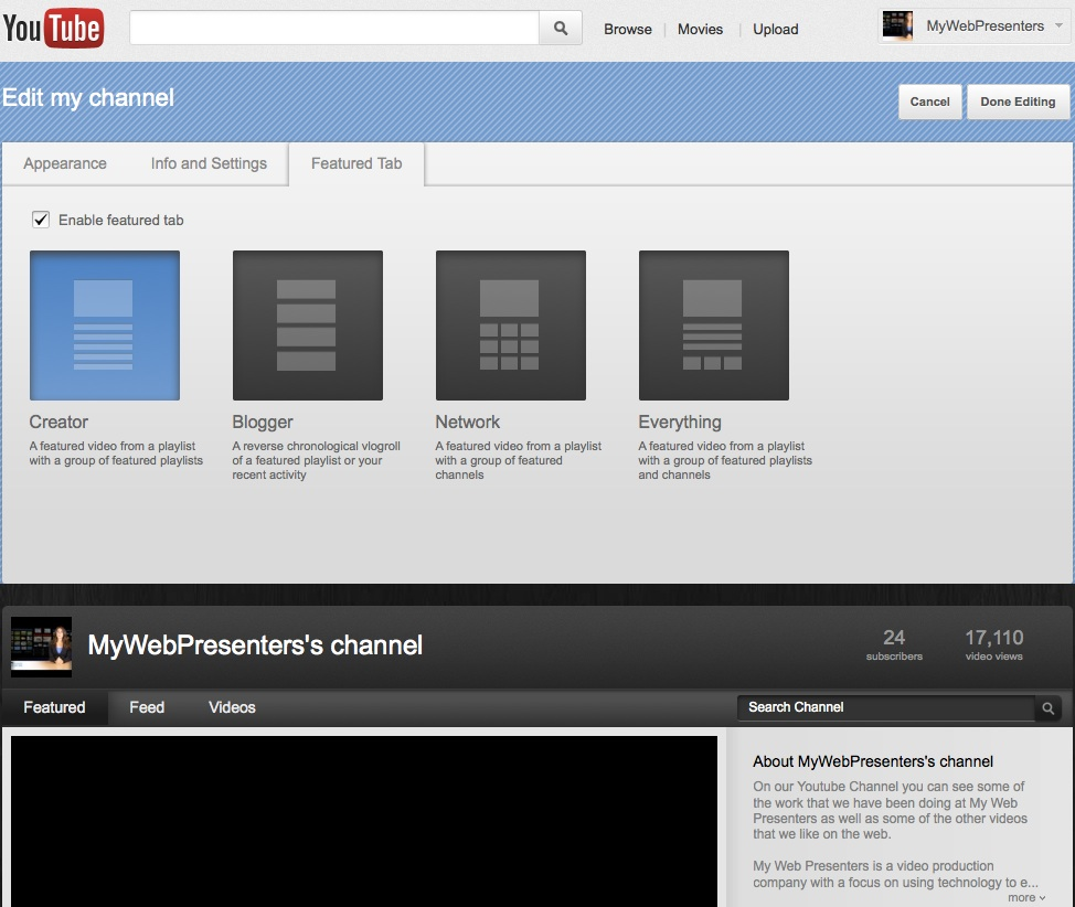 Youtube featured tab