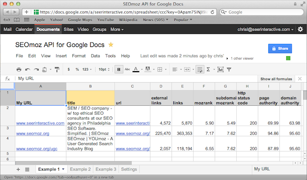 Updated tool moz api data for google docs youmoz moz for Google documents and data