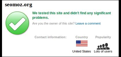 SiteAdvisor Results for SEOmoz