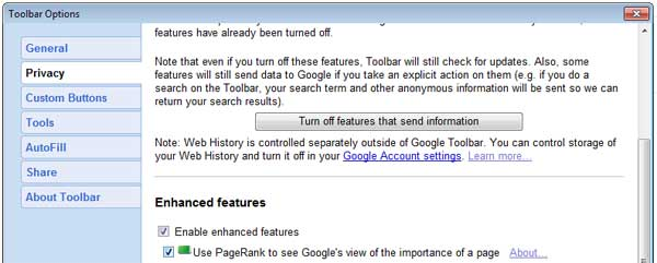 Google toolbar: Activate PageRank