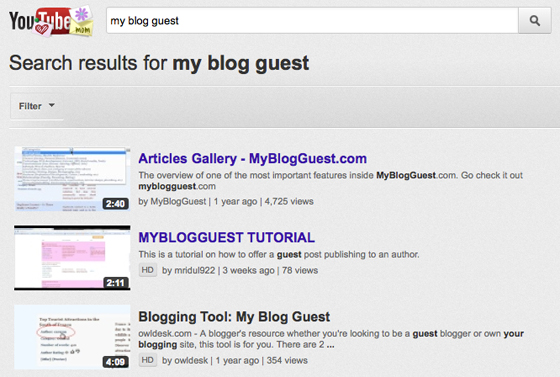 My Blog Guest search results on Youtube