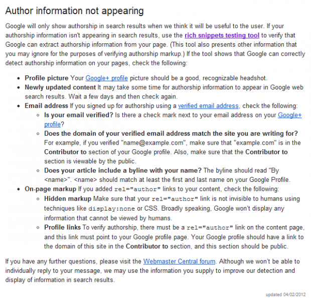 author information not appearing