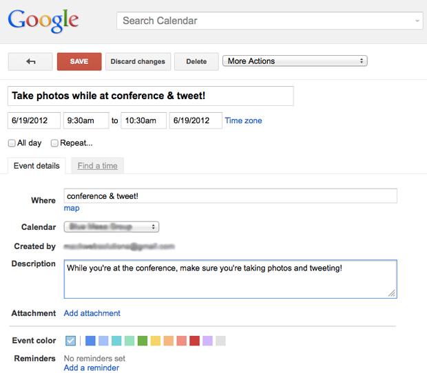 Google Social Media Calendar Details