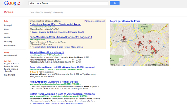 "Search Query ""attrazioni a Roma"" in Italian"