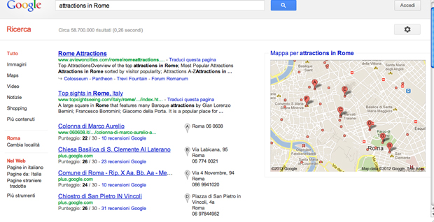 "Search Query ""Attractions in Rome"" in Italian"