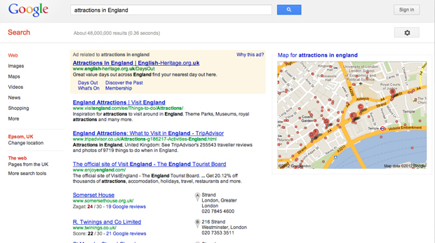"Search Query ""Attractions in England"" in Google UK"