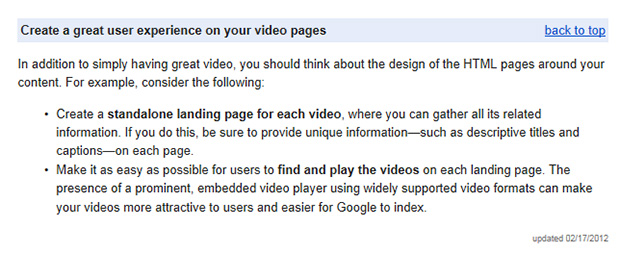 Great Video Experiance Google Guidelines